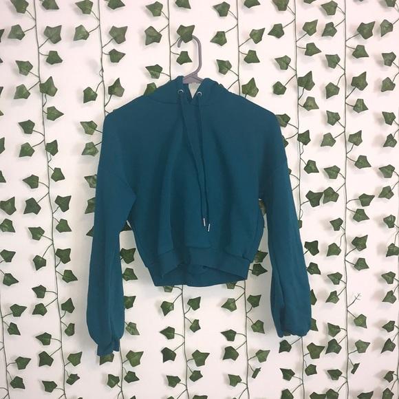 teal cropped hoodie